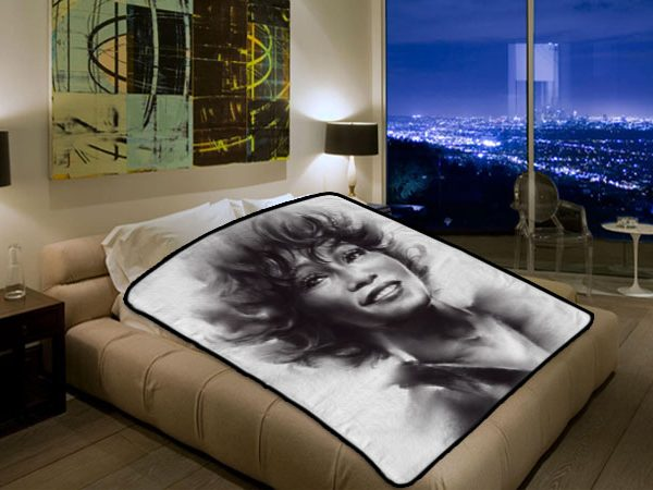 Whitney Houston Singer #3201 Polar Fleece Blanket Throw Bedroom Decor Bed  Set