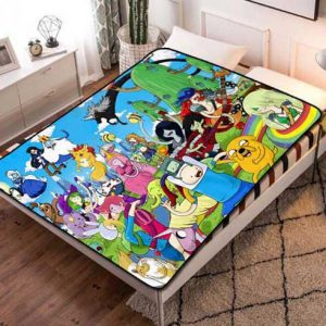 Adventure Time Cartoon Fleece Blanket Throw Bed Set