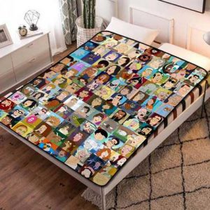 American Dad Cartoon Fleece Blanket Throw Bed Set