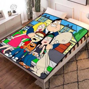 American Dad Cartoon Fleece Blanket Throw Quilt