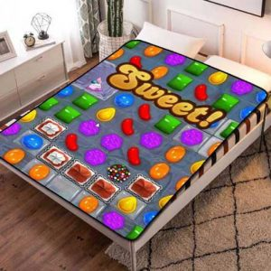 Candy Crush Cartoon Fleece Blanket Throw Bed Set