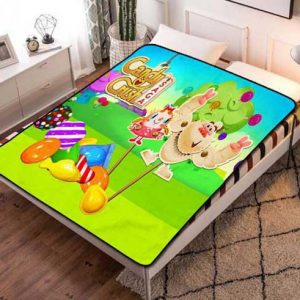 Candy Crush Fleece Blanket Throw Bed Set