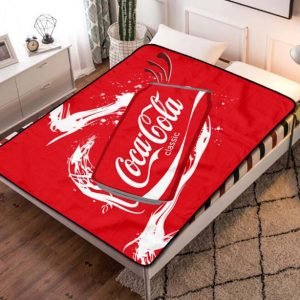 Coca Cola Can Abstract Fleece Blanket Throw Bed Set
