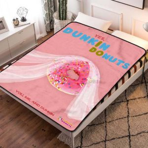 Dunkin' Donuts Yes I Do Fleece Blanket Throw Bed Set