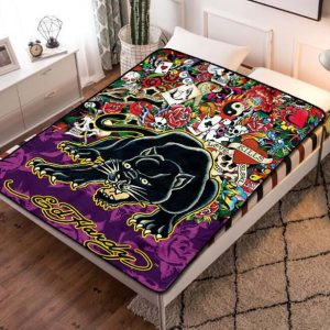 Ed Hardy Panther Tattoo Fleece Blanket Quilt