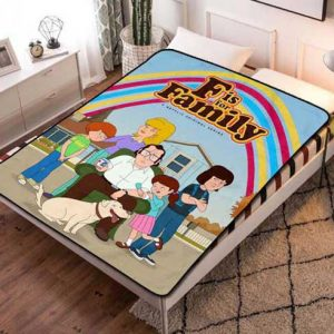 F Is for Family Cartoon Fleece Blanket Throw Quilt