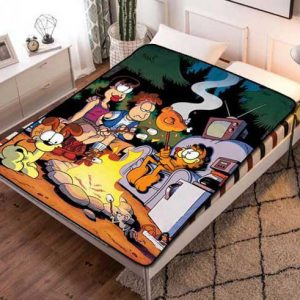 Garfield & Friends Camping Fleece Blanket Throw Quilt