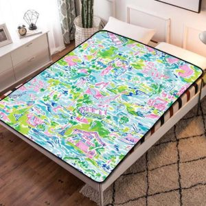 Lilly Pulitzer Patterns Fleece Blanket Throw Quilt
