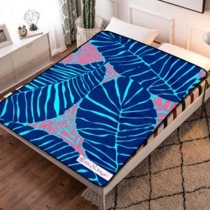 Lilly Pulitzer Blue Leaves Fleece Blanket Throw Quilt