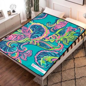 Lilly Pulitzer Design Fleece Blanket Throw Bed Set