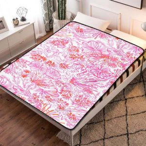 Lilly Pulitzer Pink Patterns Fleece Blanket Throw Bed Set