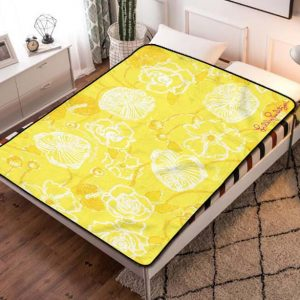 Lilly Pulitzer Poplin Starfruit Yellow Dahlia Fleece Blanket Throw Bed Set