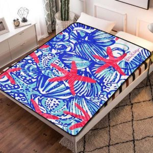 Lilly Pulitzer She She Shells Fleece Blanket Throw Bed Set