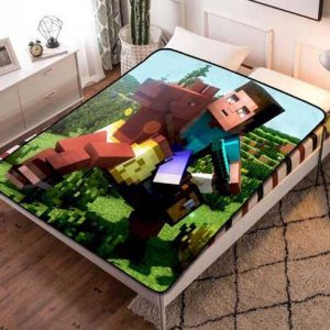 Minecraft Creeper Design Fleece Blanket Throw Bed Set