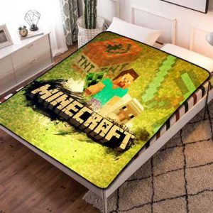 Minecraft Creeper Style Fleece Blanket Throw Bed Set