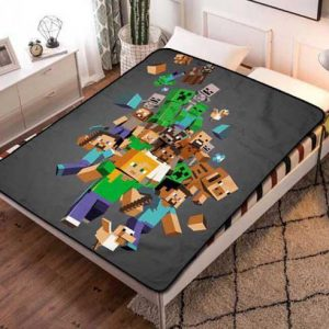 Minecraft Creeper Symbol Fleece Blanket Throw Bed Set