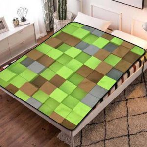 Minecraft Pattern Fleece Blanket Throw Bed Set