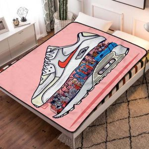 Nike Shoes Graffiti Quilt Blanket Fleece Throw