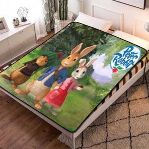 Peter Rabbit Cartoon Fleece Blanket Throw Bed Set
