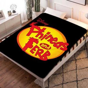 Phineas and Ferb Logo Fleece Blanket Throw Quilt