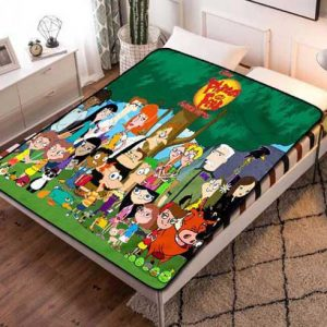 Phineas and Ferb Characters Fleece Blanket Throw Quilt