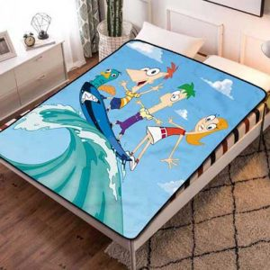 Phineas and Ferb Surfing Fleece Blanket Throw Quilt