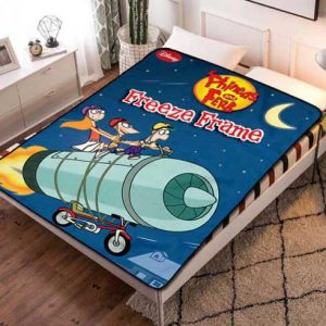 Phineas and Ferb Cartoon Fleece Blanket Throw Bed Set