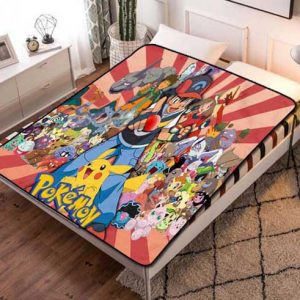 Pokemon Characters Fleece Blanket Throw Bed Set
