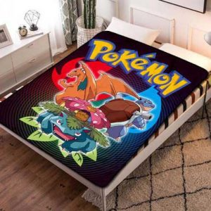 Pokemon Wallpaper Fleece Blanket Throw Bed Set