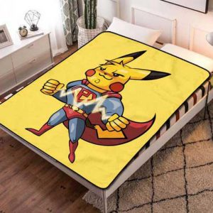 Pokemon Pikachu SupermanFleece Blanket Throw Bed Set
