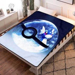 Pokemon Blue Pokeball Fleece Blanket Throw Bed Set
