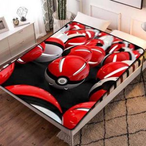 Pokemon Pokeballs Patterns Fleece Blanket Throw Bed Set