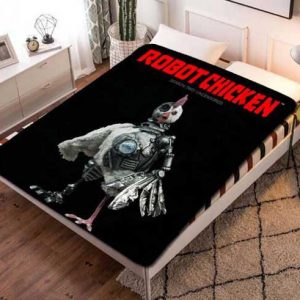 Robot Chicken Cartoon Fleece Blanket Throw Bed Set