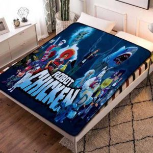 Robot Chicken Characters Fleece Blanket Throw Bed Set