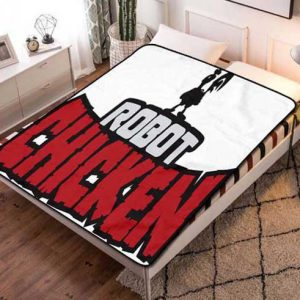 Robot Chicken Cartoon Fleece Blanket Throw Quilt