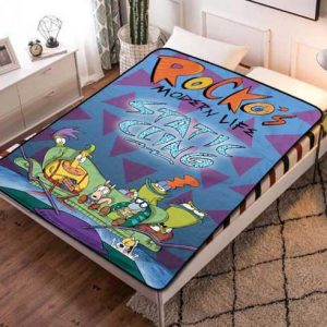 Rocko's Modern Life Wallpaper Fleece Blanket Throw Bed Set