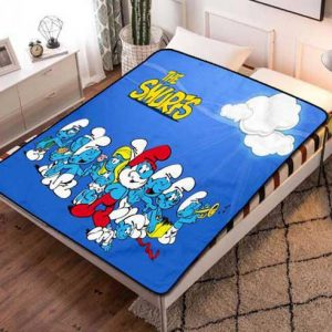 The Smurfs Style Fleece Blanket Throw Bed Set