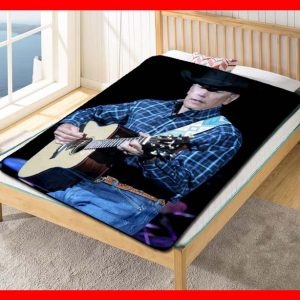 George Strait Guitar Quilt Blanket Throw Fleece