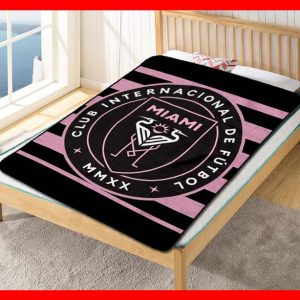 Inter Miami CF MLS Soccer Team Fleece Blanket Throw Quilt