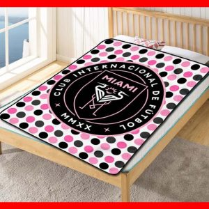 Inter Miami CF MLS Team Blanket Quilt Bedding Bedroom Set