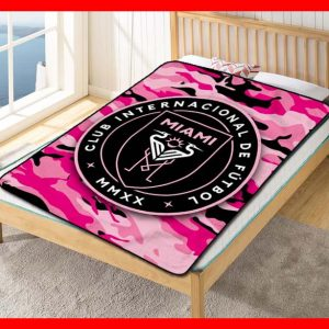 Inter Miami CF MLS Soccer Team Blanket Quilt Bedding Bedroom Set
