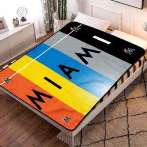 Miami Marlins MLB Team Fleece Blanket Throw Quilt