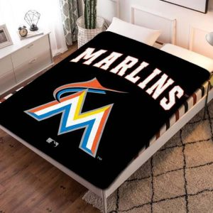 Miami Marlins Baseball Fleece Blanket Throw Quilt