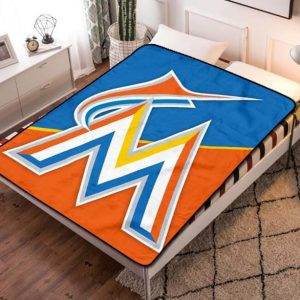 Miami Marlins MLB Team Fleece Blanket Throw Bed Set