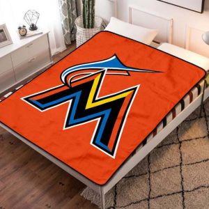 Miami Marlins Baseball Team Fleece Blanket Throw Bed Set