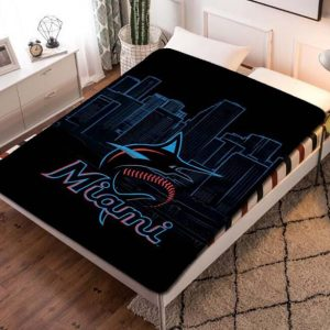 Miami Marlins Fleece Blanket Throw Quilt