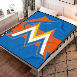 Miami Marlins Baseball Fleece Blanket Quilt