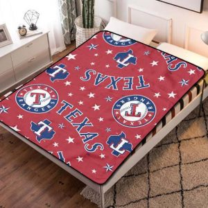 Texas Rangers MLB Baseball Team Fleece Blanket Throw Bed Set