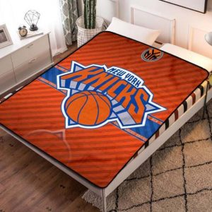 New York Knicks Quilt Blanket Fleece Bed Set