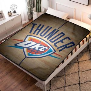 Oklahoma City Thunder Basketball Team Fleece Blanket Throw Bed Set